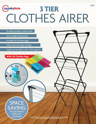 Airer Dryer Tier Trio Plus Indoor Clothes Pegs Laundry Pin 3 Stages Three Black • 25.43£