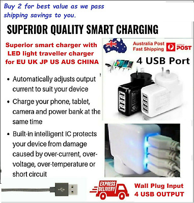 AU16.85 • Buy 4 Port Quick Fast Charger USB Hub Wall Charger LED Power Adapter AUS US EU JP