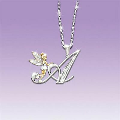 26 English Alphabet Tinkerbell Pendant Letter Necklace Crystal Clavicle Chain • 6.99£