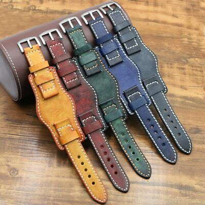 $24.89 • Buy Leather Cuff Watch Band Strap Mens Genuine  With Mat For Fossil 20mm 22mm 24mm