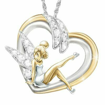 £8.99 • Buy 925 Silver Chain Necklace With Tinkerbell Fairy Pendant. Gold, Silver & Diamonte