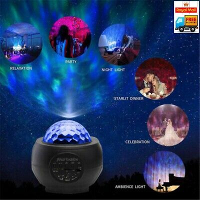 USB Galaxy Star Night Lamp LED Starry Sky Projector Light With Ocean Wave Remote • 13.79£