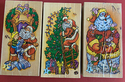 £7.99 • Buy 3 Large Wooden Christmas Rubber Stamps Father Christmas Santa Scenes