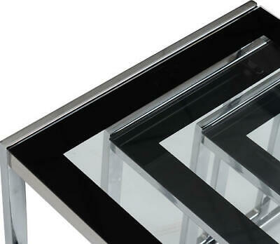 Hanley Nest Of Tables Clear Glass/Black Border/Chrome • 74.99£