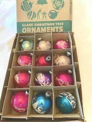 $ CDN28.09 • Buy 12 Vintage Shiny Bright Frosted Christmas Ornaments LOT 2