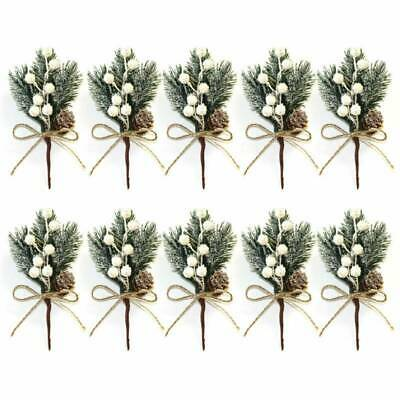 Artificial Pine Berry 10X Xmas Decor Holly Flower Christmas Branch Ornament Pick • 6.39£