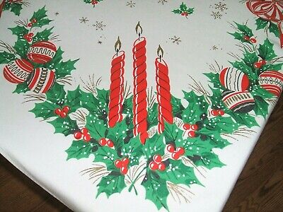 $ CDN16.92 • Buy Vintage Christmas Tablecloth Ornaments Bells Candles Snowflakes Red Bows 50 X 46