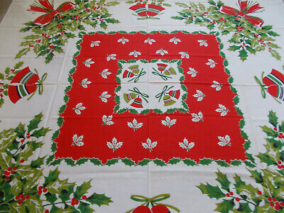 $ CDN32.65 • Buy Vtg Christmas Tablecloth -Bells/Green Holly/Red Berries/Red Bows-50x52-Unused