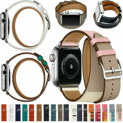 AU19.99 • Buy For Apple Watch Series 6 5 432 Genuine Leather Replacement Band Belt Double Tour