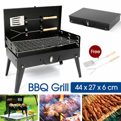 AU22.39 • Buy Charcoal BBQ Grill Hibachi Barbecue Portable Folding Steel Roast Camping Picnic