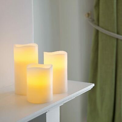 Set Of 3 Real Wax Battery Operated Flameless LED Candles With Timer By • 14.99£