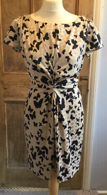 Silk Effect Champagne Dress With Black Butterfly Patterning By Yumi. Size 12 • 3.75£