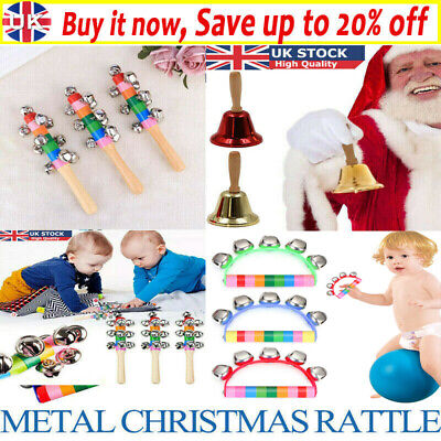 UK Christmas Metal Hand Bell With Wooden Handle New Year Celebrate Festive Decor • 4.79£