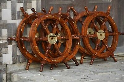 Vintage  Wooden Brass Ship Wheel For Nautical Pirate  Home Decor  Lot Of 5 Pc • 99£