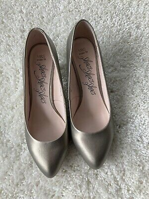 M & S WIDE FIT BRONZE/GOLD Faux Leather SHOES SIZE 6 NEW • 2.50£