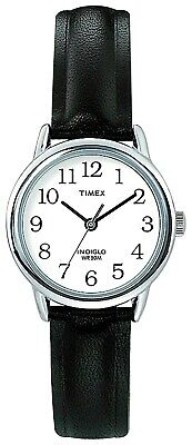 Timex Ladies Easy Reader Black Leather Strap Indiglo Night Light Analogue Watch • 39.99£