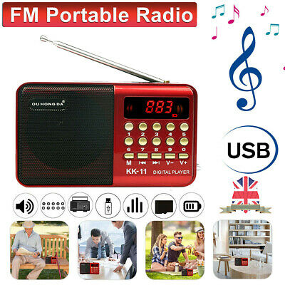 Rechargeable Digital Portable USB TF FM Radio Receiver Speaker MP3 Music Player • 13.19£