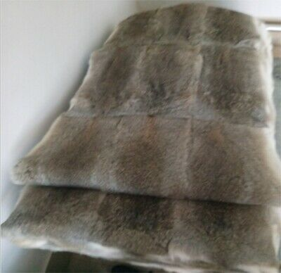 £31.01 • Buy Real Fur Throw Genuine Fur Blanket Quilt Plaid Tanned With Rabbit Pelts 55x110cm