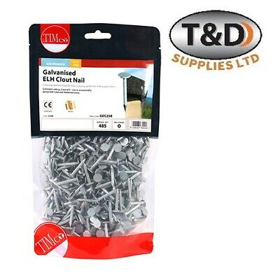 Galvanised Clout Nails Extra Large Head 13mm, 20mm, 25mm & 30mm 1KG Bag • 7£