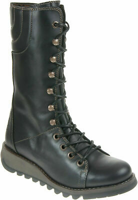 Womens Fly London STER Zip-Up Lace Wedge Leather Boots Mid Calf Sizes 4 To 8 • 102£
