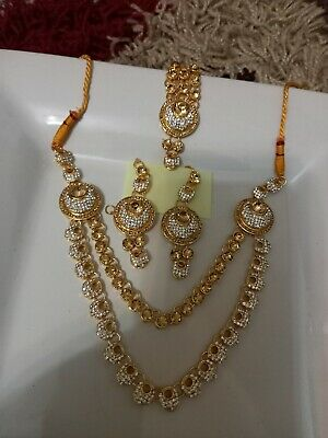 Indian Bollywood Wedding Bridal Gold And Pearl  Long Necklace Jewellery Set • 10.70£