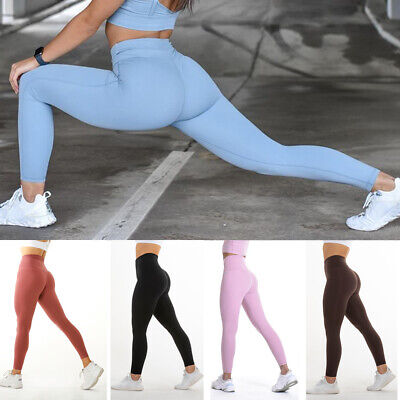 Women High Waist Yoga Pants Push Up Leggings Workout Ruched Trousers Fitness GYM • 3.88£