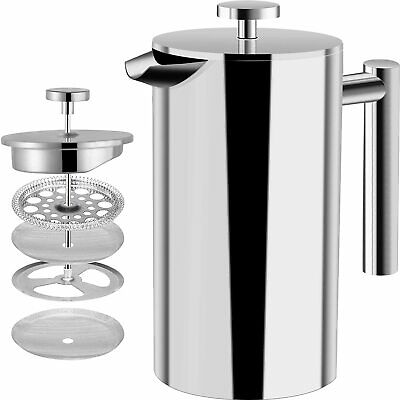 Modern Cafetiere French Press Coffee Maker Stainless Steel 3/6/8 Cup Plunger DIY • 16.99£