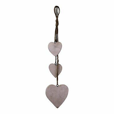 Three Hanging Wooden Heart Decoration, Light Wood Perfect Gift  Xmas Home Decor • 10.33£