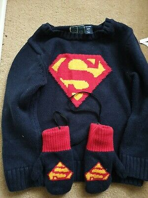 Gap Knitted Superman Jumper With Gloves Age 5  • 4.50£