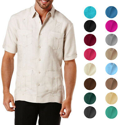$21.99 • Buy Men's Guayabera Short Sleeve Poly Embroidered Button Up Cuban Casual  Shirt