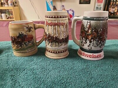$ CDN245.65 • Buy A&E ANHEUSER-BUSCH BUDWEISER HOLIDAY STEINS 1st 3 IN SERIES 1980,1981 &1982 NEW