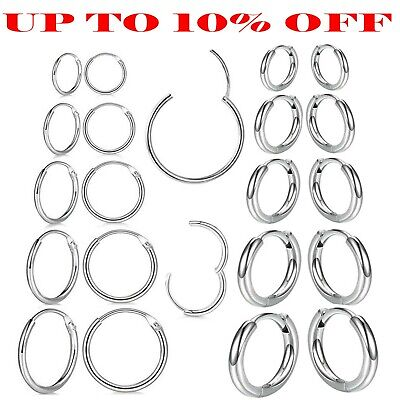 925 STERLING SILVER HOOP SLEEPER EARRINGS 8- 50mm SMALL LARGE NOSE SET BALL RING • 3.29£
