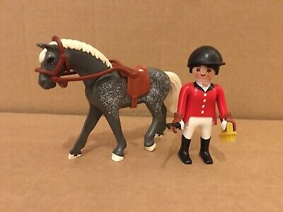Playmobil Horse With Rider - For Stables Pony Farm Mansion Dollshouse • 2.49£