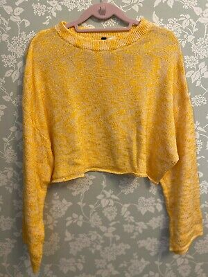 H&M Yellow Cropped Knit Jumper, UK Size L (14-16) Bell Sleeve Oversized Slouchy • 1.50£