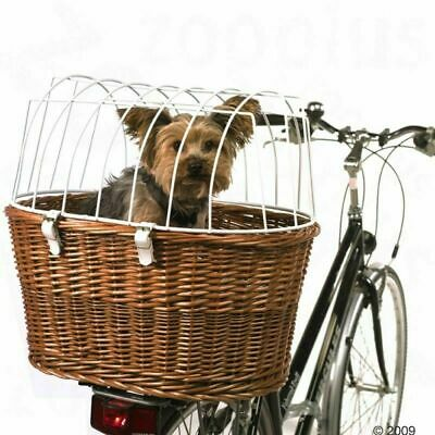BICYCLE PET BASKET Dog Cat Carrier W/ Wire Durable Wicker Bike Travel Box • 57.30£