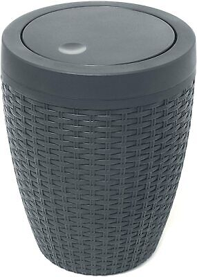 Addis Faux Rattan Round Swing Lid Bathroom Bin, Charcoal  • 19.89£