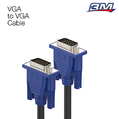 VGA 3 M Cable High Resolution SVGA 15 Pin PC To TFT Monitor LCD TV Lead Meters • 3.10£