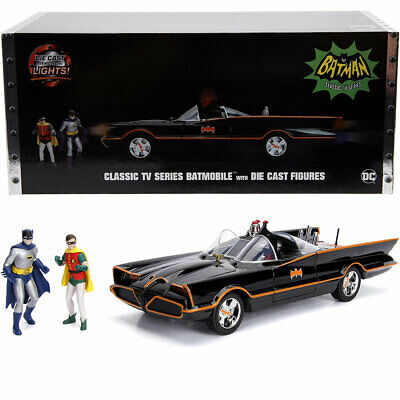 Jada 1966 Batman Classic Batmobile 1:18 Diecast Model Car With Figures 98625 • 74.95£