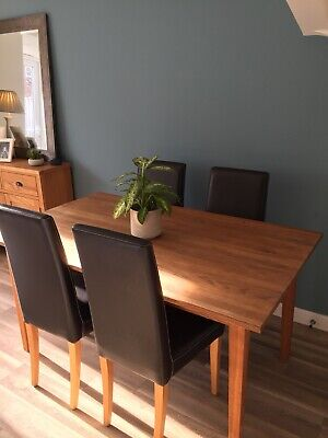 Marks And Spencer Solid Oak Dining Table And 4 M&S Black Faux Leather Chairs • 150£