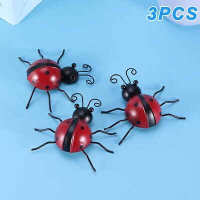 3X Garden Ladybird Fence Wall Tree Mounted METAL Ornament Decorations • 7.99£