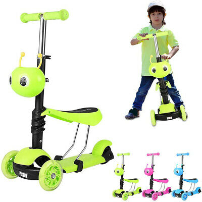 3 In 1 Kids Child Scooter 3 Wheel Toddler Beginner Kick Scooters Removable Seat • 17.99£