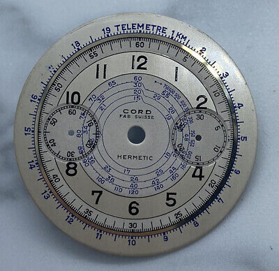 $ CDN323.09 • Buy Vintage Cord Hermetic Chronograph Dial For Caliber Venus 175 From 40's NOS