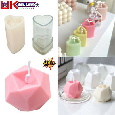 Heart Shape Aromatherapy Candle Silicone Mold Candle Making Wax Mold Soap Molds • 5.16£