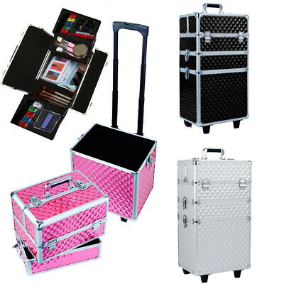Lagre Makeup Case Trolley Cosmetics Artists Barber Hairdressing Travel Organizer • 52.95£