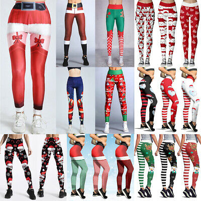 Women's Christmas Leggings Fitness Yoga Workout Gym Xmas Party Pants Trousers • 10.39£