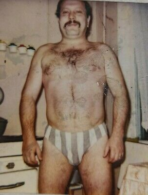 $ CDN11.41 • Buy Photo Brutal Muscular Hairy Man Shirtless Trunks Moustached Gay Int