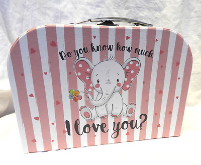 Do You Know How Much I Love You ? Suitcase Style Storage Box - PINK - (s)  BNWT • 5.99£