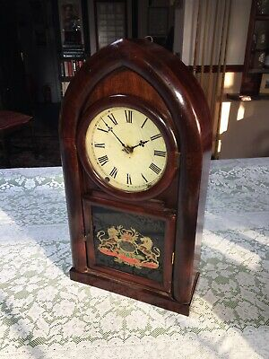 """Mantle Clock:American Oak Cased Gothic """"OCTAGON"""" Fully Working! Strikes Hourly • 185£"""