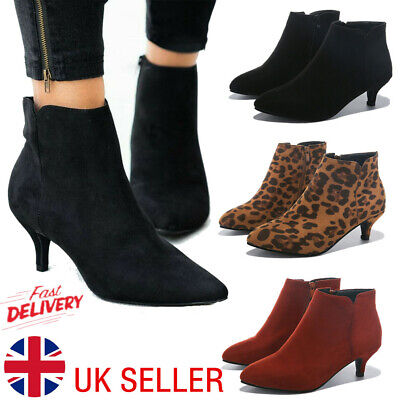 Womens Ankle Boots Low Mid Kitten Heels Ladies Zip Pointy Booties Shoes Size 3-8 • 15.78£
