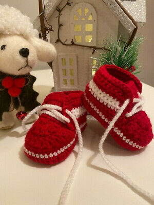 Hand Knitted Baby Booties, 0-6 Months,for Baby Girl And Baby Boy • 5£